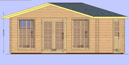 møne med dør og vindu front